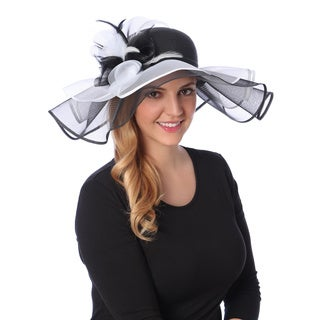 Swan Hat Women's Black/ White Crinalin Flower Floppy Hat