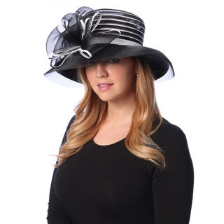 Swan Hat Women's Black/ White Crinalin Bow Downturned Hat