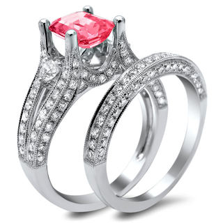18k White Gold 2 1/10ct Diamond and Pink Sapphire Emerald-cut Bridal Set (E-F, VS1-VS2)