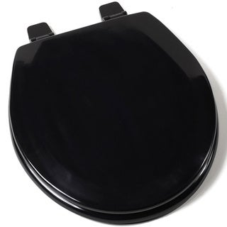 Deluxe C1B4R2-90 Black Molded Round Wood Toilet Seat