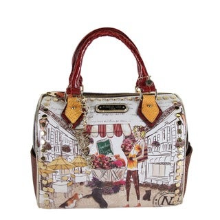 Nicole Lee 'Kayla' Blocked Fashionista Print Satchel