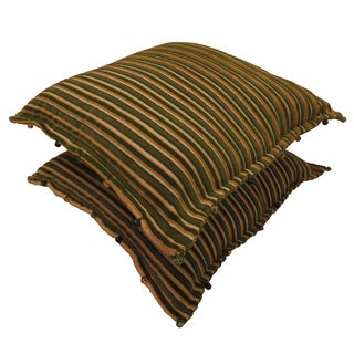 Celebration 'Chenille' Green Striped Decorative Pillows (Set of 2)