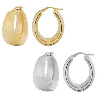 Fremada 18k Gold Over Sterling Silver Polished Electroform Oval Hoop Earrings