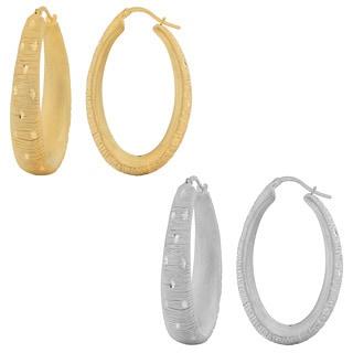 Fremada 18k Gold over Sterling Silver Diamond-cut Electroform Oval Hoop Earrings