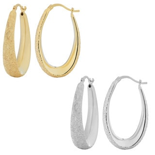Fremada 18k Gold Over Sterling Silver Diamond-cut Electroform Oval Hoop Earrings