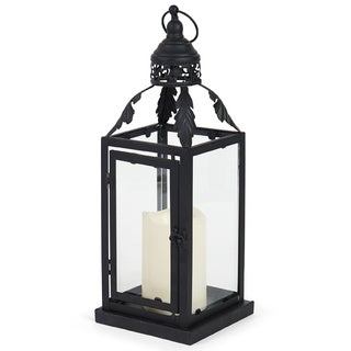 Elements 14.5-inch Black Metal Leaf Lantern with LED