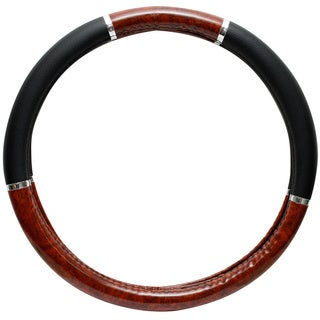 Dark Wood Grain Rubber Steering Wheel Cover
