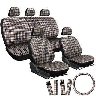Oxgord Exquisite Plaid Checkered 17-piece Seat Covers Set