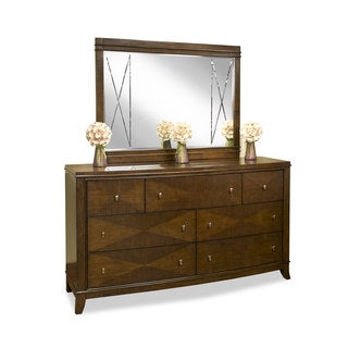 Emerald Dark Walnut 7-drawer Dresser and Mirror Set