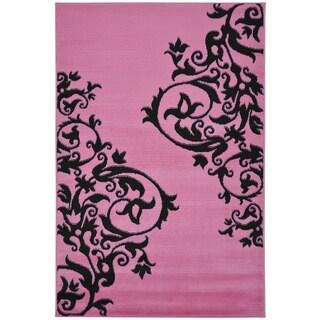 Contemporary Scrolls Design Pink Area Rug (5' x 7')
