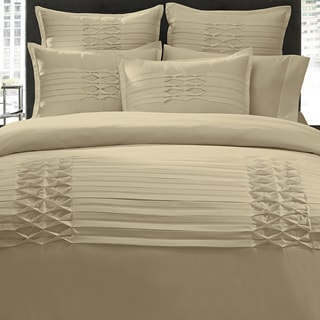 City Scene Triple Diamond Taupe 3-piece Duvet Cover Set and Optional Euro Sham Separates
