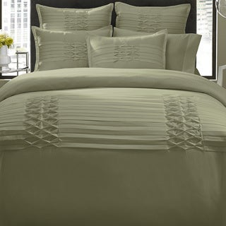 City Scene Triple Diamond Sage 3-piece Duvet Cover Set and Optional Euro Sham Separates