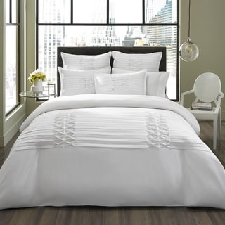 City Scene Triple Diamond 3-piece White Duvet Cover Set and Optional Euro Sham Seperates