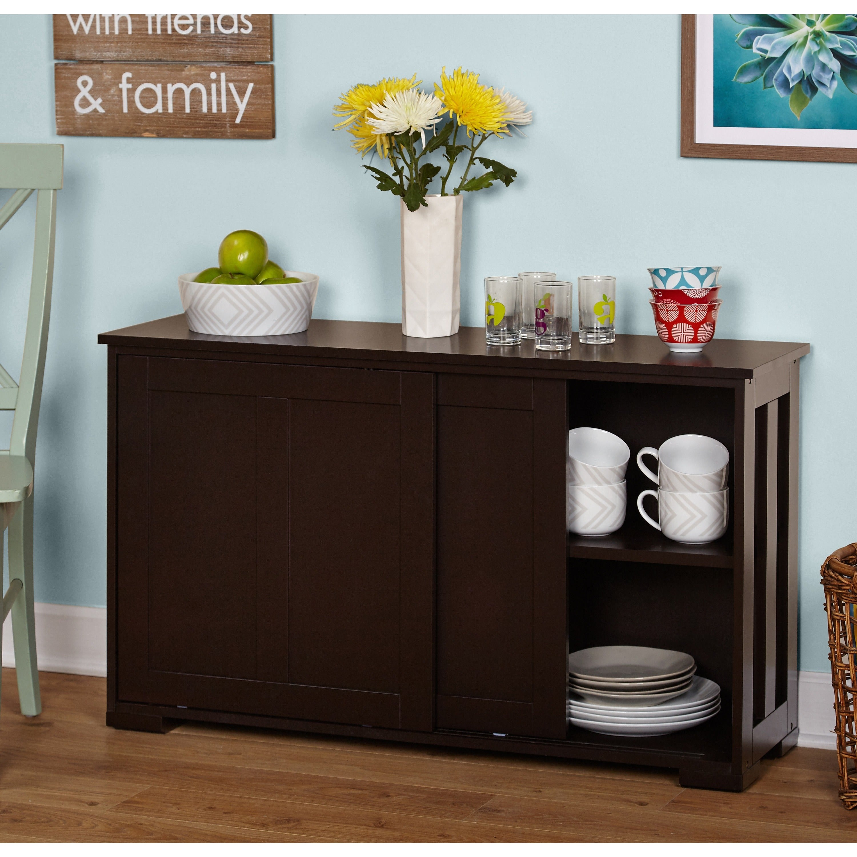 Sliding Door Espresso Cabinet Storage Table Serving Buffet Kitchen