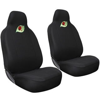 Oxgord Cute Green Leaf with Red Ladybug Car Seat Cover 2-piece Set