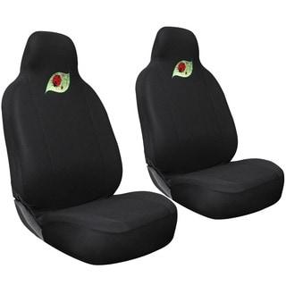 Oxgord Cute Green Leaf with Red Ladybug Car Seat Cover 2-piece Set