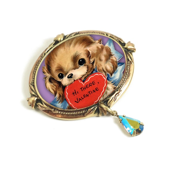 Sweet Romance Puppy Love Retro Valentine Pin