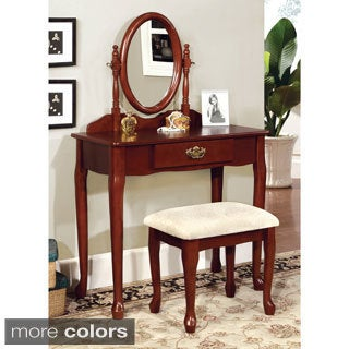 Furniture of America Mildred 2-piece European Style Vanity and Stool Set
