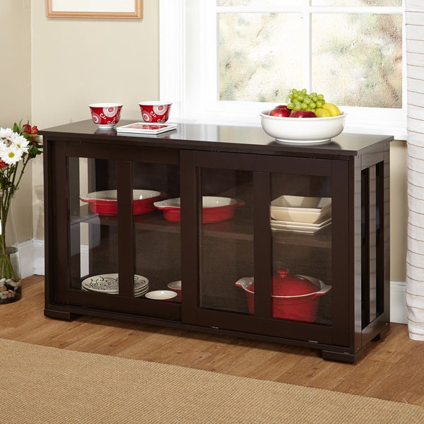 Simple Living Glass Sliding Door Stackable Cabinet