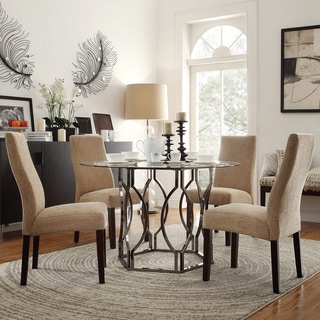 Kona 5-piece Mocha Chenille Hexagonal Dining Set