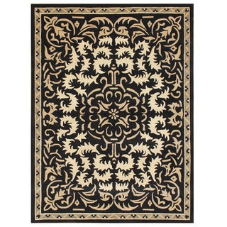 Alliyah Handmade Black New Zealand Blend Wool Rug (9 'x 12')