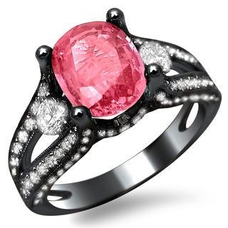 18k Black Gold 1 1/2ct TDW Diamond and Pink Sapphire Oval-cut Engagement Ring (E-F, VS1-VS2)