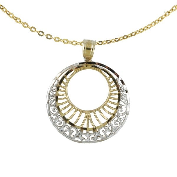 14k Two-tone Diamond-cut Circle Pendant