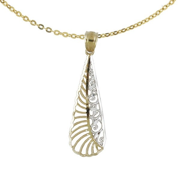 14k Two-tone Diamond-cut Elongated Tear Drop Pendant