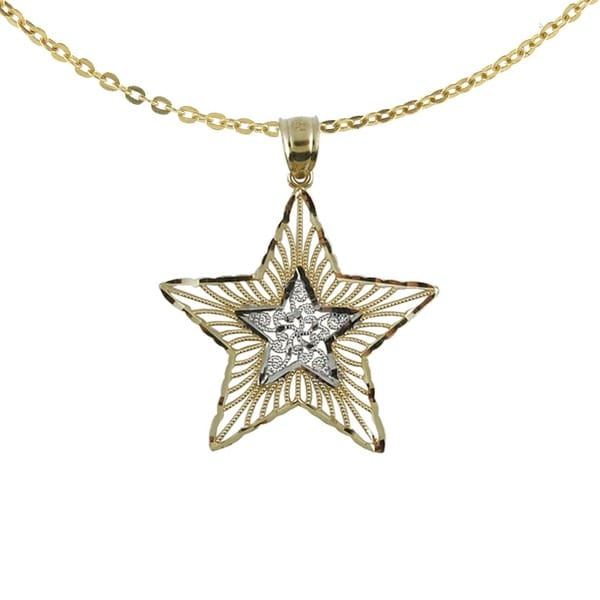 14k Two-tone Diamond-cut Star Necklace