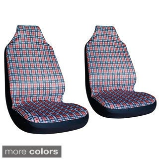 Oxgord Plaid Checkered High-back Front Chair Seat Covers (Set of 2)
