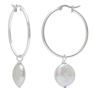 Sunstone Catherine Canino Freshwater Pearl Teardrop Hoop Earrings (17 mm)