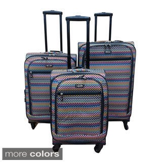 Kemyer Chevron 3-piece Expandable Spinner Luggage Set