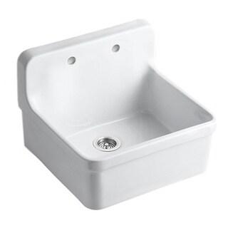 Kohler 'Gilford' White Apron Front Wall Mount Vitreous China 2-hole Kitchen Sink