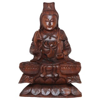 Hand-carved Wood Kuan Yin Statue (Indonesia)