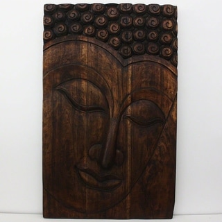 Hand-carved 47-inch High Mocha Oil Serene Buddha Panel (Thailand)