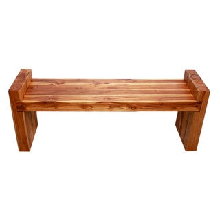 Hand-crafted Golden Oak-finished Teak Block Bench (Thailand)
