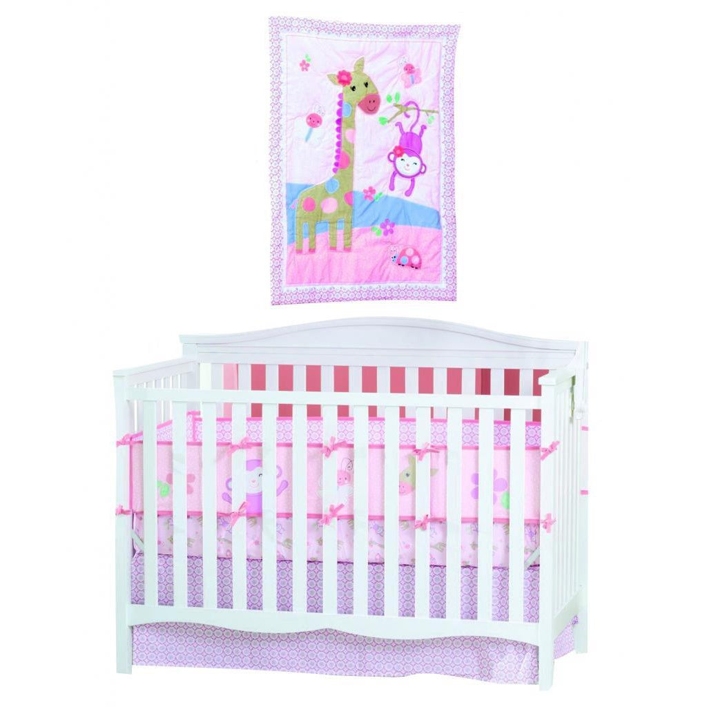 Summer Infant Pretty Pals 4 piece Nursery Set (MulticolorMaterials Cotton, polyesterCare instructions Machine washDimensions Bumper 9 inches high x 27 inches wide x 52 inches longComforter 1 inch high x 32 inches wide x 42 inches longCrib skirt 4 in