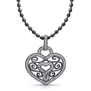 14k Blackplated White Gold 1/4ct TDW Diamond Antique-style Heart Pendant (I-J, I1-I2)