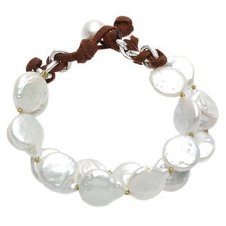 Sunstone Catherine Canino Freshwater Pearl 2-row Woven Bracelet (13 mm)