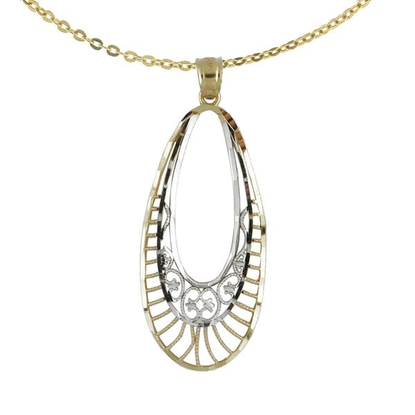 14k Two-tone Diamond Cut Fashionable Oval Pendant with 14k Yellow Gold Chain