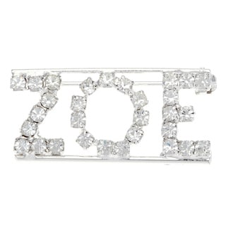 Silverplated 'Zoe' Crystal Name Pin