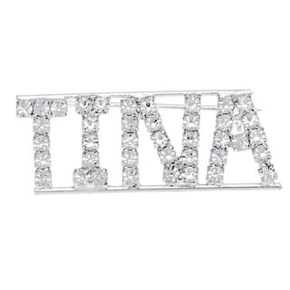 Detti Originals SilverPind 'TINA' Crystal Name Pin