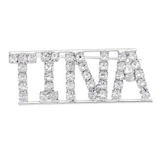 Silverplated 'Tina' Crystal Name Pin
