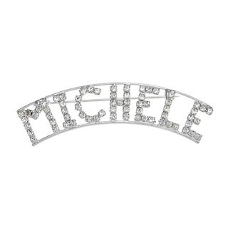 Silverplated 'Michele' Crystal Name Pin