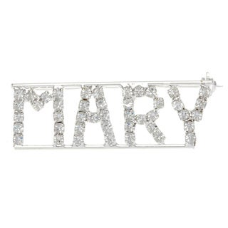 Silverplated 'Mary' Crystal Name Pin