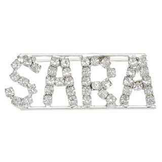 Silverplated 'Sara' Crystal Name Pin