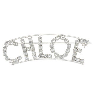 Silverplated 'Chloe' Crystal Name Pin