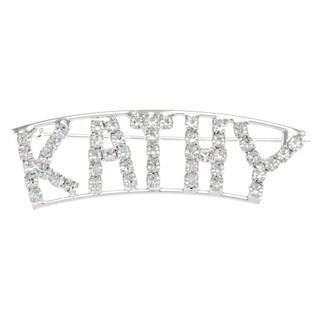 Silverplated 'Kathy' Crystal Name Pin