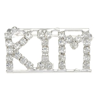 Silverplated 'Kim' Crystal Name Pin