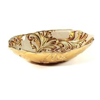 Vanessa Beige/ Gold Decorative Serving Bowl